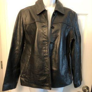 J Crew black leather button up jacket